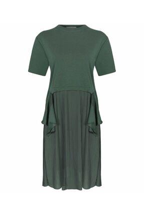 İpekyol Kadın Haki Kumaş Mixli Sweat Elbise 4