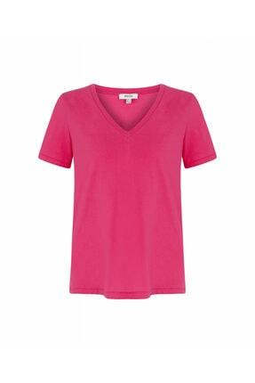 İpekyol Kadın Pembe V Yaka Basic Tişört 4