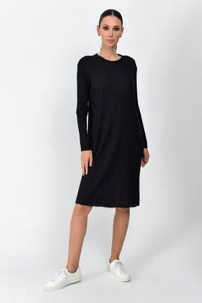 Cotton Mood Kadın Siyah Kalın Fitilli Kaşkorse Cepli Uzun Tunik Elbise 9361437 0