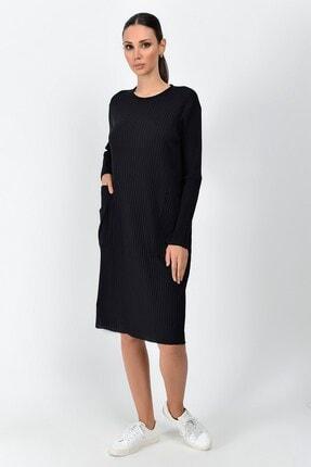Cotton Mood Kadın Siyah Kalın Fitilli Kaşkorse Cepli Uzun Tunik Elbise 9361437 1