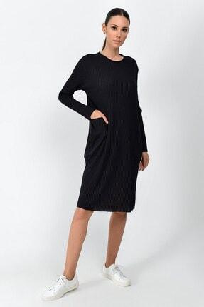 Cotton Mood Kadın Siyah Kalın Fitilli Kaşkorse Cepli Uzun Tunik Elbise 9361437 2