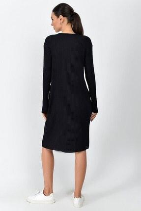 Cotton Mood Kadın Siyah Kalın Fitilli Kaşkorse Cepli Uzun Tunik Elbise 9361437 3