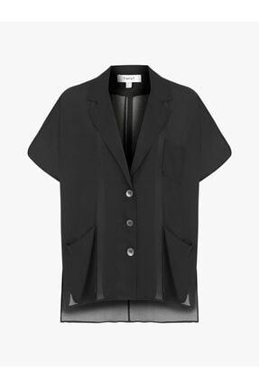 Twist Kadın Siyah Düşük Kol Düğme Kapama Ceket 4