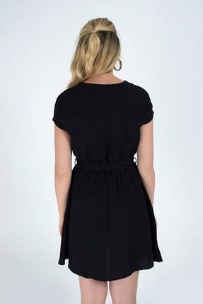 Cotton Mood 92210142 Bodrum Beli Lastikli Yarasa Kol Elbise Sıyah 1