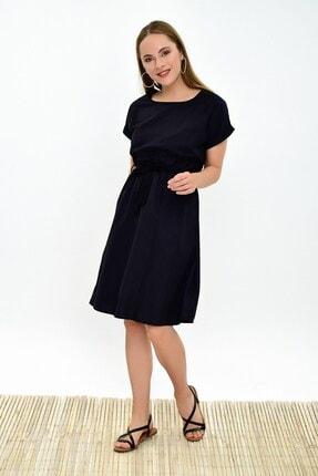 Cotton Mood Kadın Siyah Dokuma Viskon Beli Lastikli Yarasa Kol Elbise 9303031 2