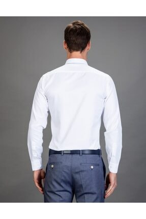 Tudors Slim Fit Düz Beyaz Kravatlık, Erkek Gömlek 2
