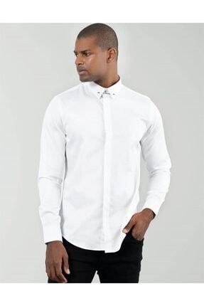 Tudors Erkek Beyaz Slim Fit Yaka İğneli Gömlek 0