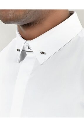 Tudors Erkek Beyaz Slim Fit Yaka İğneli Gömlek 3