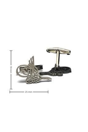 Midyat Nurtaş Gümüş Erkek Gümüş Tuğra Model Telkari Kol Düğmesi 2