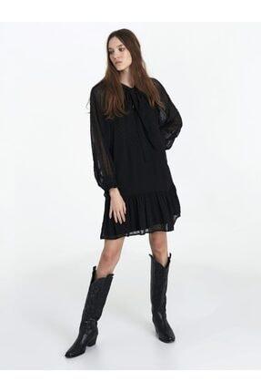 Twist Kadın Siyah Fırfır Şeritli Elbise 0