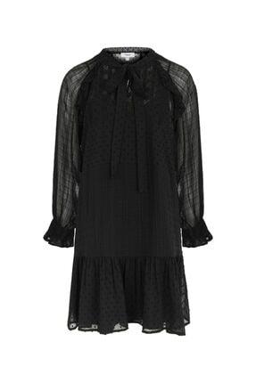 Twist Kadın Siyah Fırfır Şeritli Elbise 4