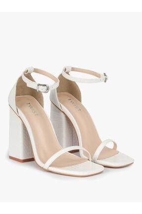 Twist Kadın Beyaz İnce Bantlı Topuklu Ayakkabı 0