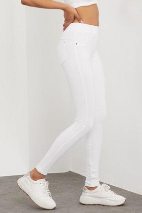 Meis Kadın Beyaz Cepli Pantolon Görünümlü Tayt 2