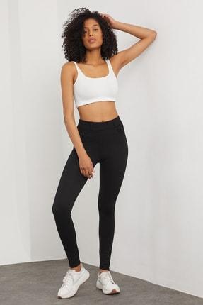 Meis Kadın Siyah Cepli Pantolon Görünümlü Tayt 2