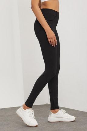 Meis Kadın Siyah Cepli Pantolon Görünümlü Tayt 4