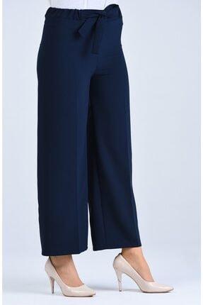 Moda Bu Kadın Lacivert Bel Lastikli Bağlamalı Bol Paça Pantolon 1