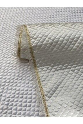 Kaizen Carpet Krem 60cmx10mt Rulo Gold Su Taşı Detaylı Deri Saten Lüks Kapitone Raf Çekmece Örtüsü-derinlik 60 Cm 1