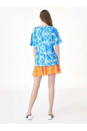Twist Kadın Mavi Taş Şeritli Tshirt TS1200070159089 4