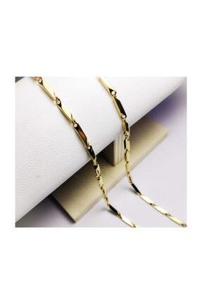 platin hediyelik Altın Sarısı Renk Çubuklu 3 mm Çelik Kolye Zincir Kolye 0