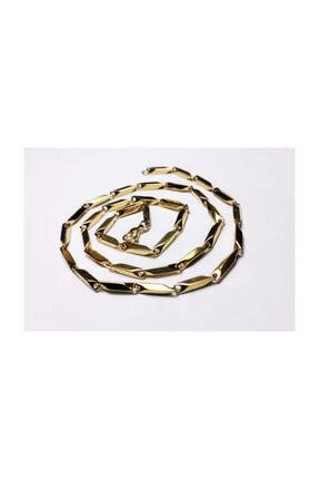 platin hediyelik Altın Sarısı Renk Çubuklu 3 mm Çelik Kolye Zincir Kolye 1