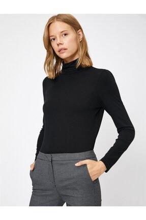 Koton Kadın Siyah Yüksek Yaka T-Shirt 1