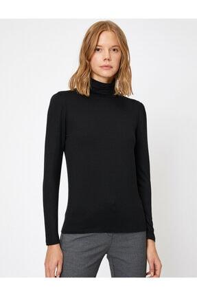 Koton Kadın Siyah Yüksek Yaka T-Shirt 2