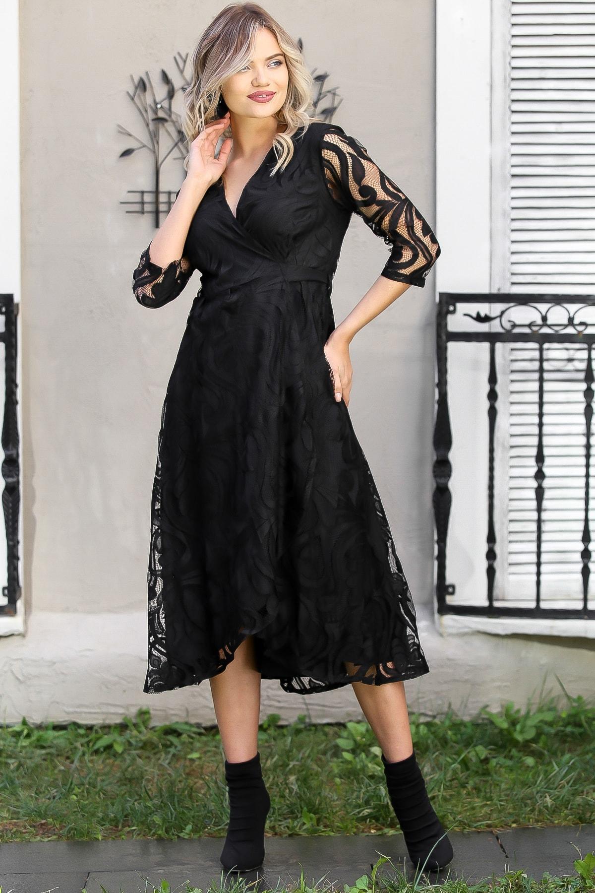 Chiccy Kadın Siyah Dantel Yaprak Desenli Kruvaze Astarlı Elbise M10160000EL96030 2