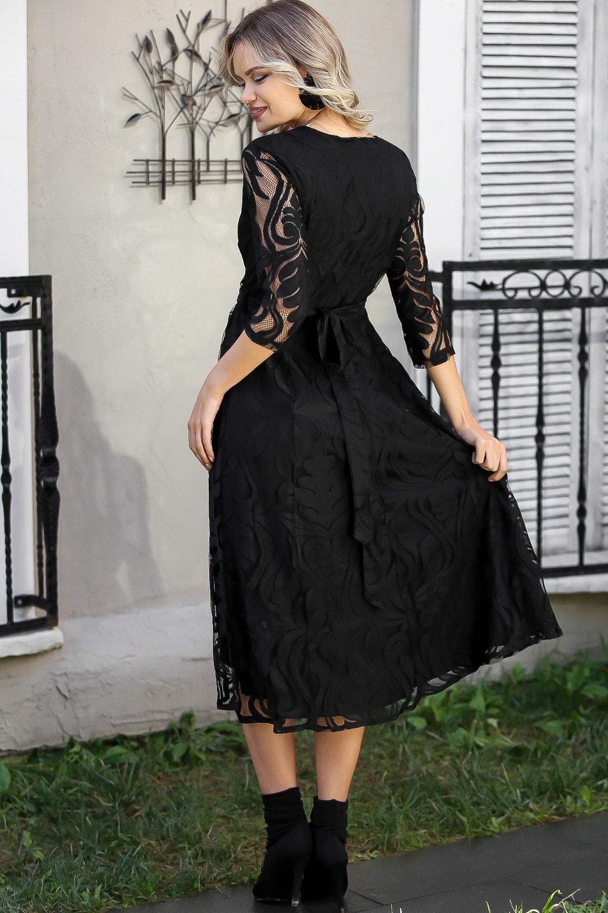 Chiccy Kadın Siyah Dantel Yaprak Desenli Kruvaze Astarlı Elbise M10160000EL96030 4