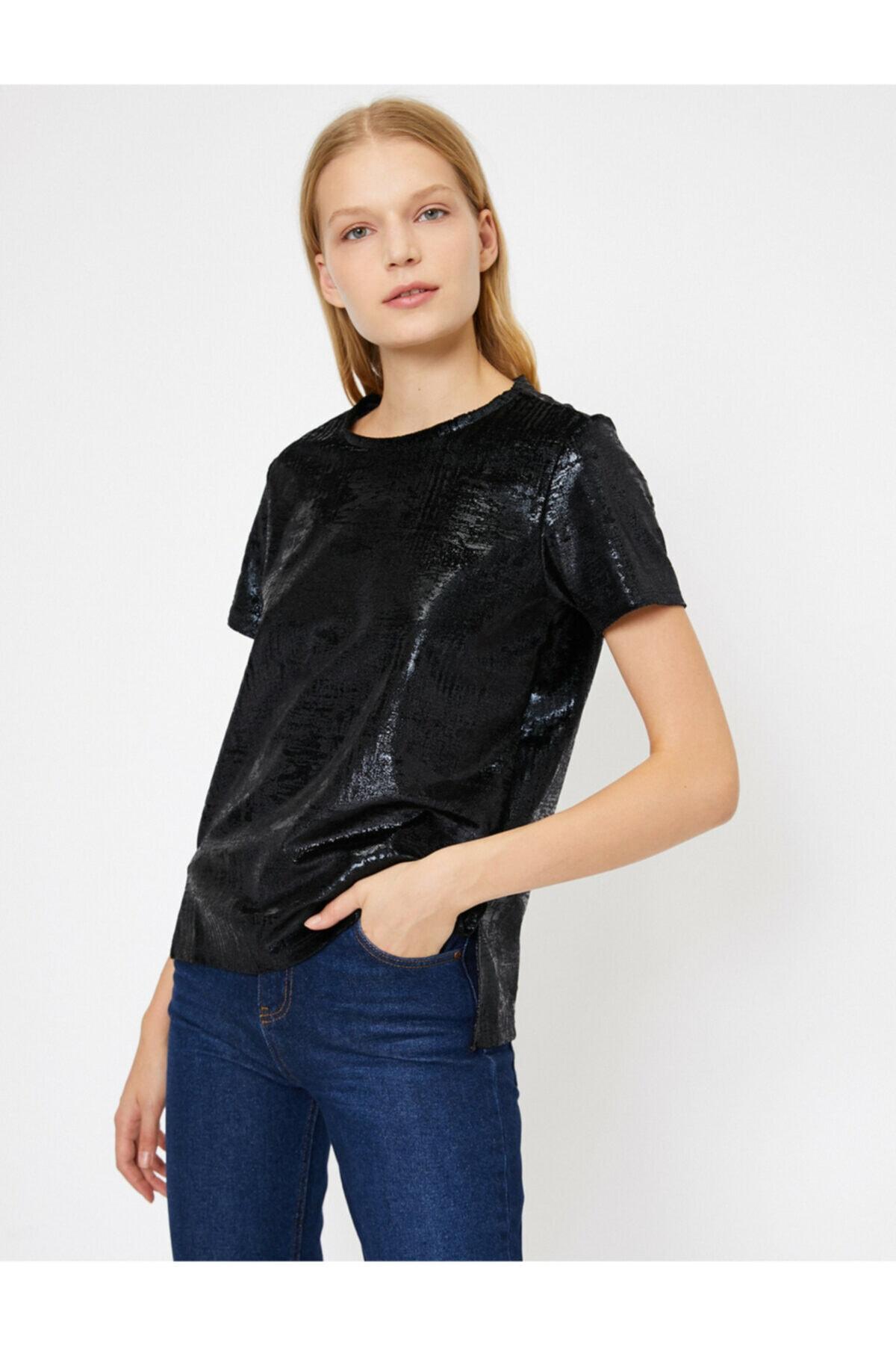 Koton Kadın Siyah Yazili Baskili T-Shirt