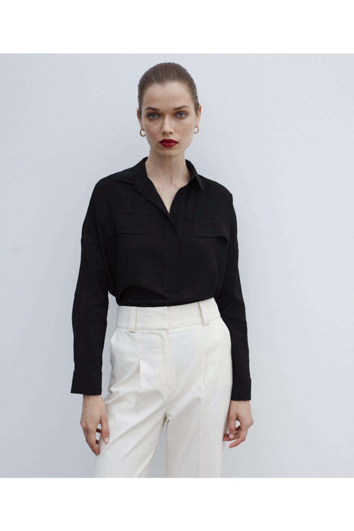 İpekyol Kadın Siyah Gömlek Yaka Bluz
