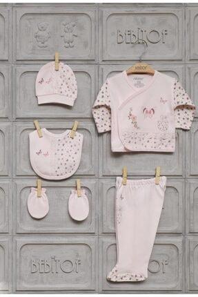 Bebitof Kız Bebek Pembe Kelebekli 5li Hastane Çıkışı Seti 0