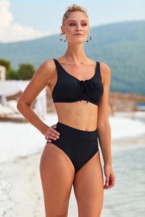 Pierre Cardin Kadın Siyah Sürgülü Toparlayıcı Bikini 3