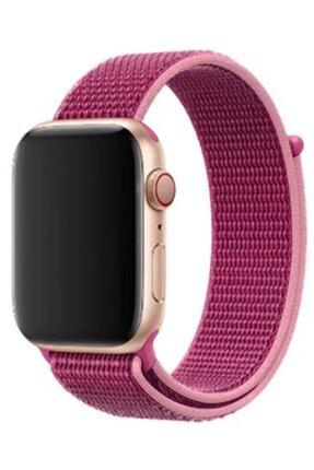 Elfia Pembe Apple Watch 5. Nesil 44 mm Renkli Tarz Örgü Saat Kordonu 0