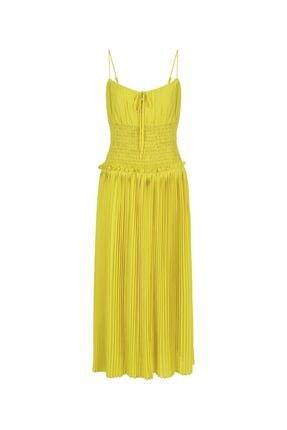 İpekyol Kadın Sarı Bel Vurgulu Askılı Elbise 4