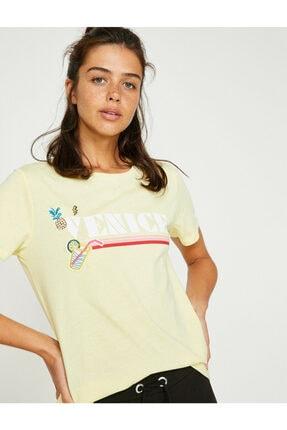 Koton Kadın Sarı Yazı Baskılı Kısa Kollu Bisiklet Yaka T-Shirt 8YAL11762JK 0
