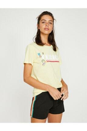 Koton Kadın Sarı Yazı Baskılı Kısa Kollu Bisiklet Yaka T-Shirt 8YAL11762JK 1