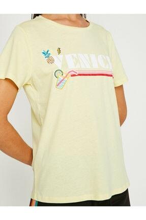 Koton Kadın Sarı Yazı Baskılı Kısa Kollu Bisiklet Yaka T-Shirt 8YAL11762JK 4