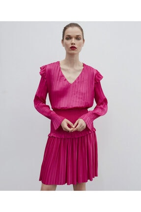 İpekyol Kadın Pembe Piliseli Bluz 0