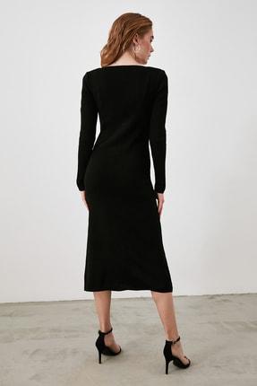 TRENDYOLMİLLA Siyah Düğmeli Triko Elbise TWOAW21EL2353 2