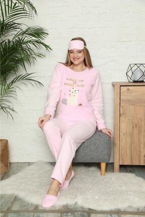 Pijamoni Kadın Pembe Kedi Desenli Welsoft Polar Pijama Takımı 4120-60 1