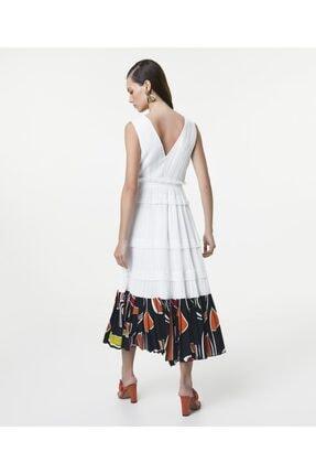 İpekyol Kadın Beyaz Eteği Kumaş Mixli Anvelop Elbise 3