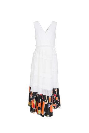 İpekyol Kadın Beyaz Eteği Kumaş Mixli Anvelop Elbise 4