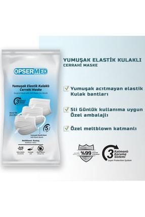 OPSERMED 3 Katlı Meltblownlu Burun Telli Cerrahi Maske 50'li (Yumuşak Elastik Kulaklı) Siyah 2