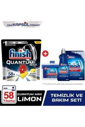 Finish Quantum Max 58 Kapsül Bulaşık Makinesi Deterjanı Limon + Temizlik Ve Bakım Seti 0