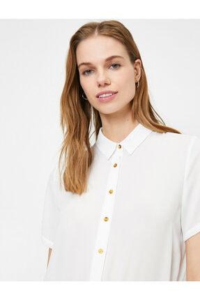 Koton Kadın Beyaz Düğme Detaylı Kısa Kollu Gömlek 1