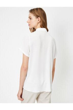 Koton Kadın Beyaz Düğme Detaylı Kısa Kollu Gömlek 3