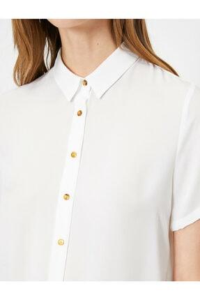 Koton Kadın Beyaz Düğme Detaylı Kısa Kollu Gömlek 4