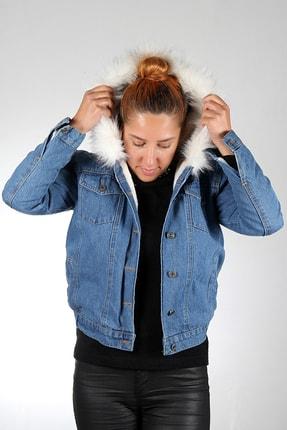Stilim Butik Kadın Mavi Içi Kürklü Kot Mont 0