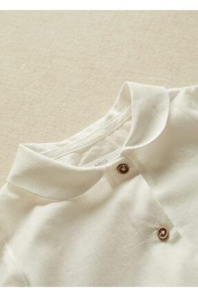 Mango Kırık Beyaz Unisex Bebek Yakalı Organik Pamuklu Gömlek 4