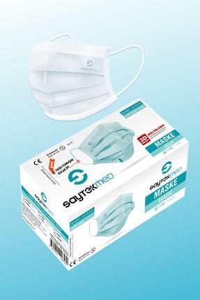 SAYTEKMED Meltblown Filtreli Yassı Ipli Beyaz Maske 1 Kutu/50 Adet 0